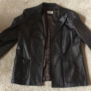 Classic hip length leather jacket